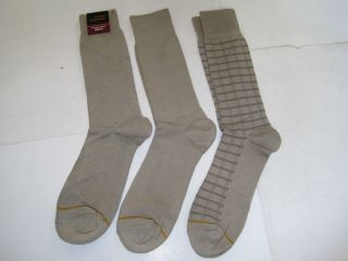 Goldtoe Brand Mens Adult 3 Pair Dress Socks Khaki