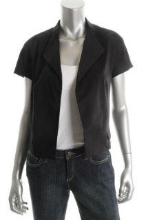 Jones New York New Black Lined Open Front Short Sleeve Jacket Top 8