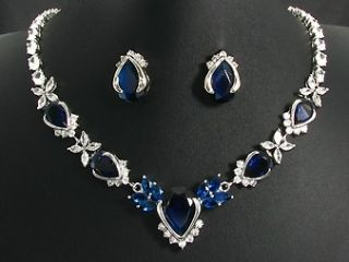 White Gold Finish Blue Lab Gems Necklace Jewellery Set
