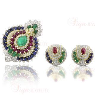 David Webb Multi Color Gemstones Diamond Gold Platinum Brooch Earrings