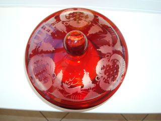 Beautiful Antique Red Etched Glass Lidded Bowl