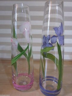 Block Crystal Mouth Blown Hand Cut Hand Painted Floral Glass Vases