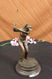 HAPPY LADY GOLFER BRONZE SCULPTURE SPORT STATUE FIGURE FIGURINE ART