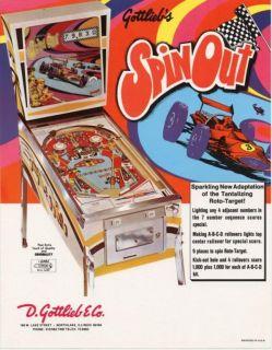 Spin Out Gottlieb Pinball Machine Flyer Original