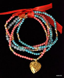 New $475 GOOD CHARMA 5 Strand Pink Coral, Turquoise Stretch Bracelet