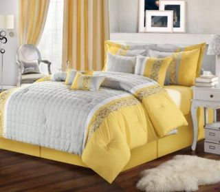 12pc Queen Glendale Yellow Gray Embroidered Bed in A Bag Comforter Set