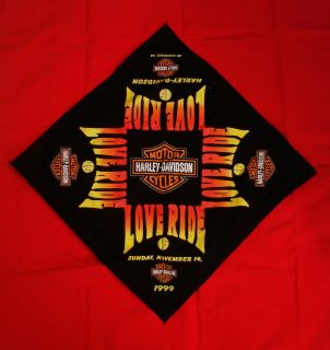 Davidson Motor Cycles Love Ride Large Bandana Glendale Calif