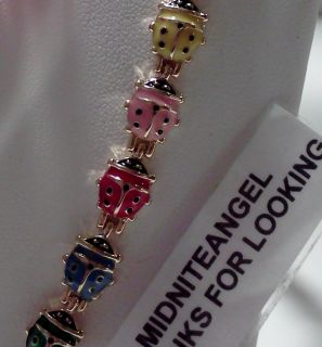 ENAMEL COLOR RAISED LADYBUGS MAGNETIC BRACELET WOMEN GIRLS JEWELRY