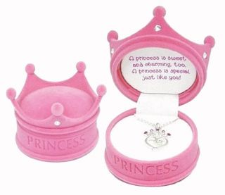 Girls Princess Crown Necklace Pink Jewelry Gift Box Sterling Silver
