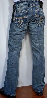 ROCK REVIVAL Mens Denim GEORGE 02 Jeans   Straight Leg   NEW   Medium