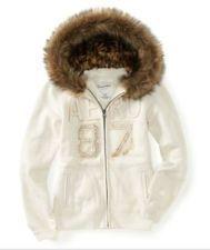 Aeropostale Fur Trimmed Sweatshirt Hoodie Jacket 89 50 Cream Off White