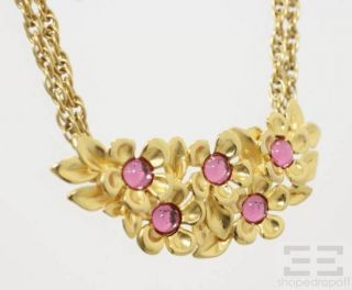 Givenchy Gold Plated Pink Jeweled Floral Necklace