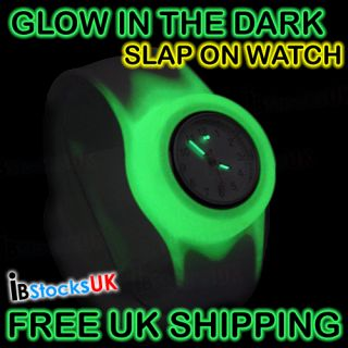 Glow in The Dark Slap on Snap Silicon Rubber Sports Watch 2012 Fashion