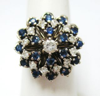 Vintage 14k White Gold Diamond Sapphire Cluster Ring