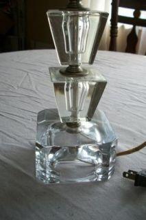 Vtg Art Deco Heavy Block Crystal Tiered Glass Table Vanity bdrm