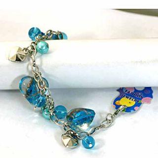Beauty Blue Lampwork Glass Pearl Heart Bracelet Fashion Jewelry