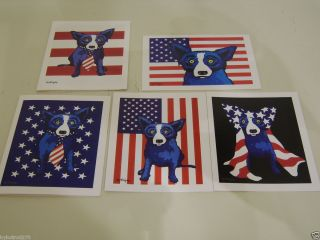 Lot of 5 george rodrigue Blue Dog Red, White and Blue Dog Cards with