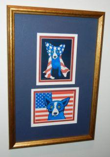 PATRIOTIC DUO NOTE CARDS FRAME GEORGE RODRIGUE BLUE DOG **L@@K**