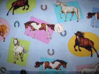 Yard Pony Club Cotton Fabric Horses on Blue Kaufman
