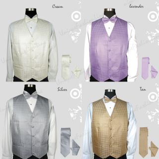 Mens Tuxedo Vest Set 4 Pieces Vest Bow Tie Handkerchief and Tie 002