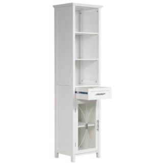 Delaney Bathroom Linen Cabinet w Drawer 3 Open Shelves White