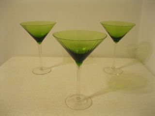 Tall Green Clear Glass Margarita Cocktail Glasses