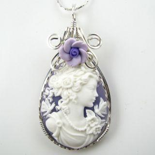 Goddess Butterfly Cameo Pendant Sterling Silver Jewelry Purple Flower