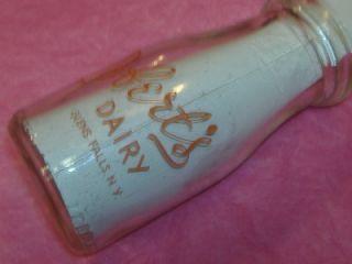 Doberts Dairy Glens Falls NY Vintage Glass Half Pint Dairy Milk 1 2