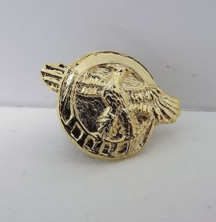 Genuine Gold Tone Eagle Military Hat Pin Lapel Pin