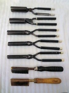 Used 7 Piece Gold N Hot Stove Curling Flat Irons Combs