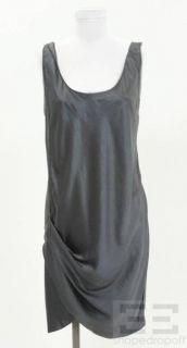 Helmut Lang Gray Silk Asymmetrical Gathered Sleeveless Dress Size 8