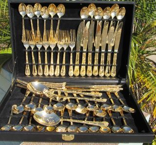 Wm Rogers Son 63 Piece Gold Plated Signed Flatware Enchanted Rose Orig