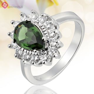 Green Emerald 18K White Gold Plated GP Engagement Ring Size 7 O
