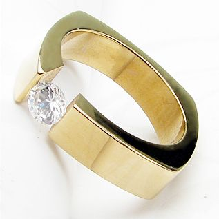 TITANIUM Gold Plated TENSION RING with 6mm Round CZ sizes 6 or 8 NEW