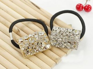 Luxury Rhinestone Hair Ring Rope Ponytail Holder Gold JH08