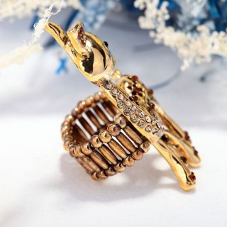 14k Gold Plated Rhinestone Spotted Deer Stretch Cocktail Ring Coffee