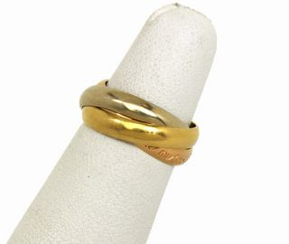 18K Tri Color Gold Trinity Rolling Band Ring Size 49 US 5
