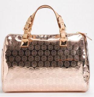 Michael Kors Grayson Rose Gold Monogram Metallic Large Satchel Bag