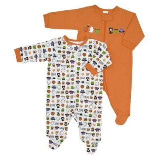 Gerber 2 Pack Sleep N Play Baby Pajama Zip Front Orange Multi New
