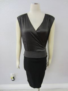 Geren Ford  Grey Silk Blend Luxurious V Neck Sleeveless