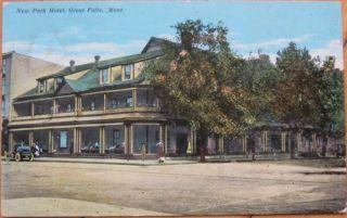 1915 Postcard New Park Hotel Great Falls Montana Mont