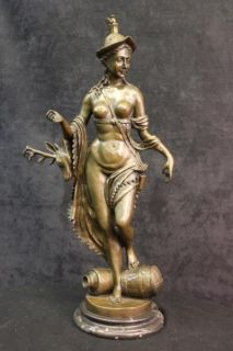 Nude Greek Warrior Godess Diana The Huntress Bronze Marble Statue