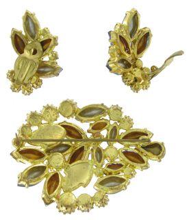 Vintage w German AB Rhinestone Set Pin Brooch Earrings