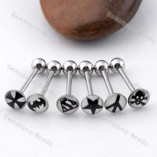 14g Glow in Dark Tongue Ring Stud Stainless Steel Bar Piercing Body