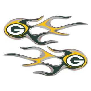 Green Bay Packers 2 Pack Micro Flames Flame Auto Home Emblem Decal GB