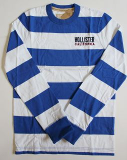 Hollister Mens Graphic Long Sleeve Tee shirt blue stripe sz Small NWT