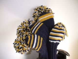Hand Knit Golf Club Head Covers Set of Four New Navy Gold White