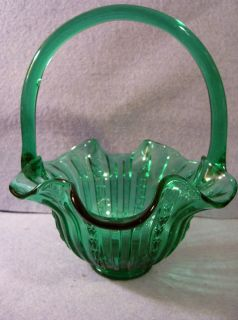 Vintage Fenton Old Virginia FOREST Green Glass Tulip Design Handled