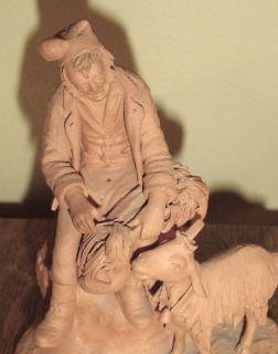 Vintage GRASSO Italy Terracotta Sculpture GOAT Man SHEPHERD Figure