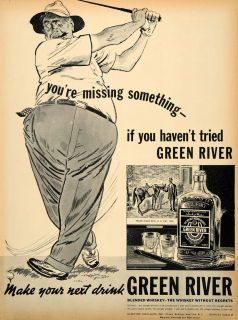 1938 Ad Green River Whiskey Oldetyme Golf Davis Pint   ORIGINAL